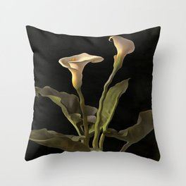 White Calla Lilies On A Black Background Throw Pillow