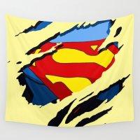 superhero Wall Tapestries featuring superhero torn - SuperMan by UNDeRT4keR