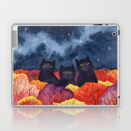 Three Black Cats in Autumn Watercolor Laptop & iPad Skin