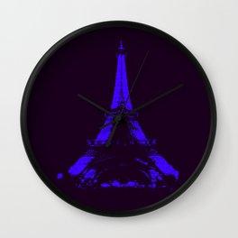 paris Eiffel Tower Indigo Wall Clock