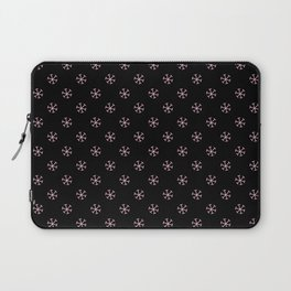 Cotton Candy Pink on Black Snowflakes Laptop Sleeve