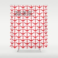 anchors Shower Curtains featuring anchors by Cat Milchard