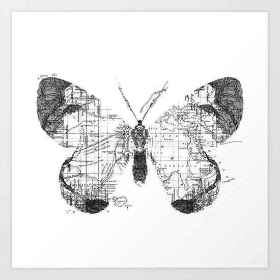 Butterfly Wanderlust Black and White Art Print