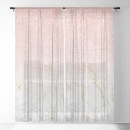 Rose Gold Glitter and gold white Marble Sheer Curtain