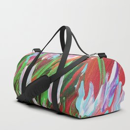 Tuips Palette knife painting floral art green red blue by Ksavera Duffle Bag
