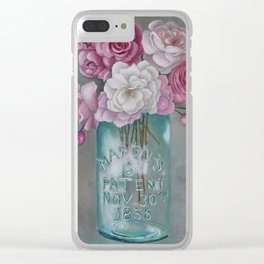 Antique Mason Jar Number 6 1858 with Pink Roses Clear iPhone Case
