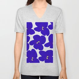 Blue Retro Flowers #decor #society6 #buyart Unisex V-Neck