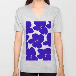 Blue Retro Flowers #decor #society6 #buyart Unisex V-Neck