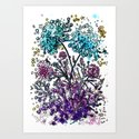 Purple floral watercolor abstraction by annabelka