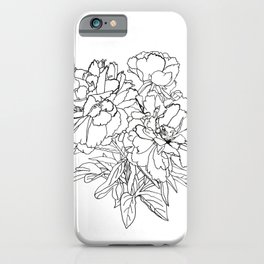 Peony from the garden - Line work iPhone Case