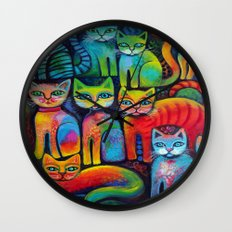 Colourful Kittens Wall Clock