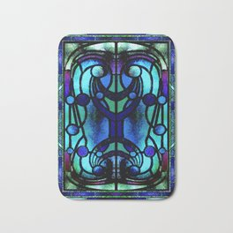 Blue and Aqua Stained Glass Victorian Design Bath Mat