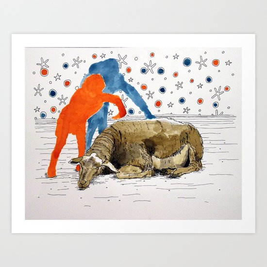 Blue & Orange Dream Art Print