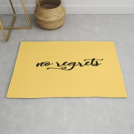 No regrets typographic print, self motivating caption Rug