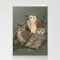 owls Stationery Cards featuring Owls by Jessica Roux