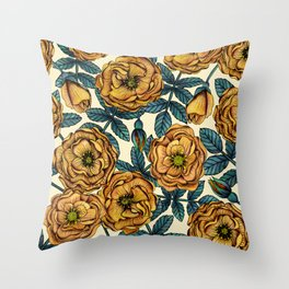 Golden Yellow Roses - A Vintage-Inspired Floral/Botanical Pattern Throw Pillow