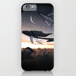 Whales Flying Above The Clouds-Looking Out The Window iPhone Case
