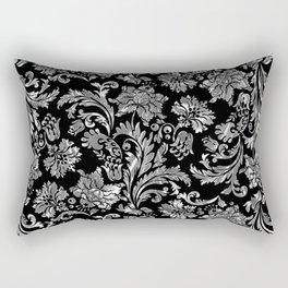 Black & Silver Vintage Floral Damasks Pattern Rectangular Pillow