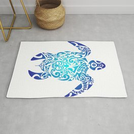 dd02be4196881 Tribal Sea Turtle Ocean Blue Hawaii Polynesian Maori Rug
