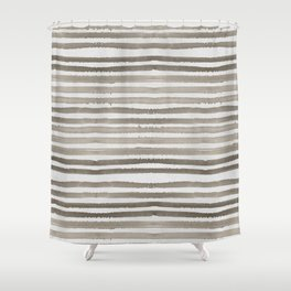 Simply Shibori Stripes Earth Brown on Lunar Gray Shower Curtain
