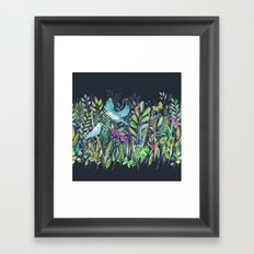Little Garden Birds in Watercolor Framed Art Print