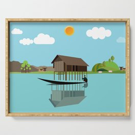 House above the water Serving Tray