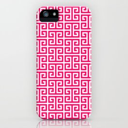 Hot Pink and White Greek Key Pattern iPhone Case