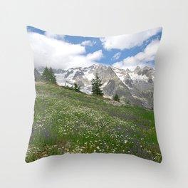 Alpine Landscape Flowering Meadows Snowy Mountains Throw Pillow