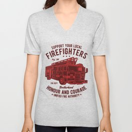 Support Your Local Firefighters Unisex V-Neck