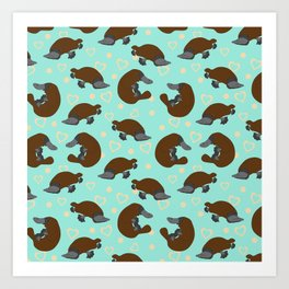 Platypus Love Art Print