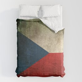 Old and Worn Distressed Vintage Flag of Czech Republic Comforters