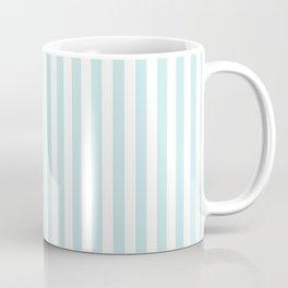 Duck Egg Pale Aqua Blue and White Wide Thin Vertical Deck Chair Stripe Coffee Mug