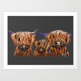 Scottish Highland Cow ' THe TaNGeRiNeS oN GReY ' by Shirley MacArthur Art Print