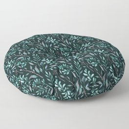 Branches with leaves on dark background Floor Pillow
