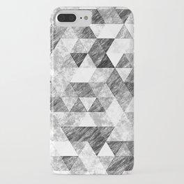 Triangles Grunge Pencil Geometric Black&White Grey iPhone Case
