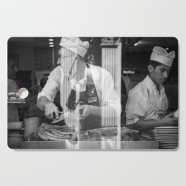 Confused in a kitchen, black and white, photography, print, street photography Cutting Board