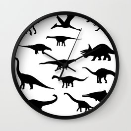 Black and white dinosaurus pattern Wall Clock