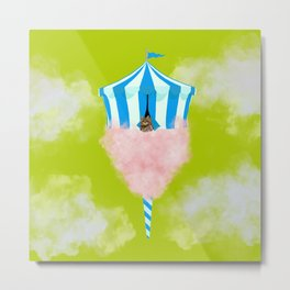 Cotton Candy Sky Cat Electric Lime Metal Print