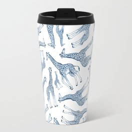 Navy Blue Giraffes on White Travel Mug