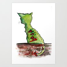 Reflective Zombie Cat Art Print