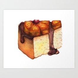 Pineapple Upside-Down Cake Slice Art Print