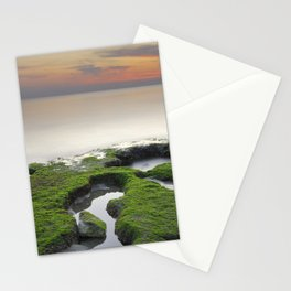 """""""Green, white and red beach"""" Stationery Cards"""