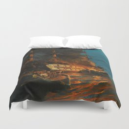 The Burning of a Turkish Frigate Duvet Cover
