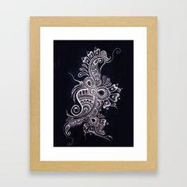 Henna Mehndi on Denim photograph print Framed Art Print