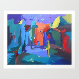 Midnight Abstract Painting Art Print