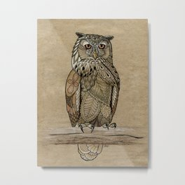 Paper Bag Owl Metal Print