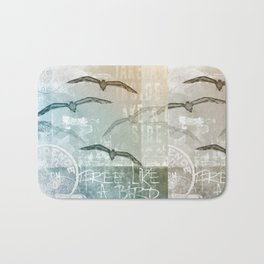 Free Like A Bird Seagull Mixed Media Art Bath Mat