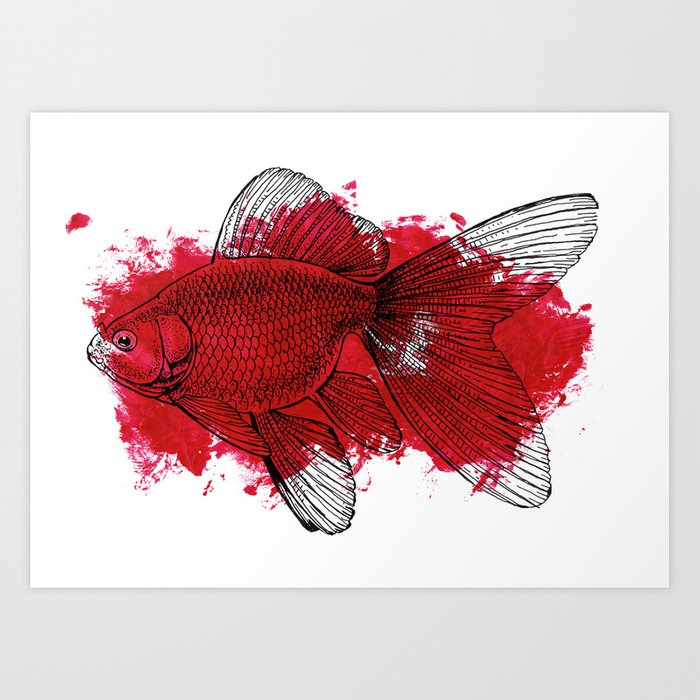 Big red fish art print by candygun society6 for Big fish printing