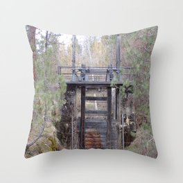 Antique Spillway, Old River Spillway in Trees and Bushes Throw Pillow