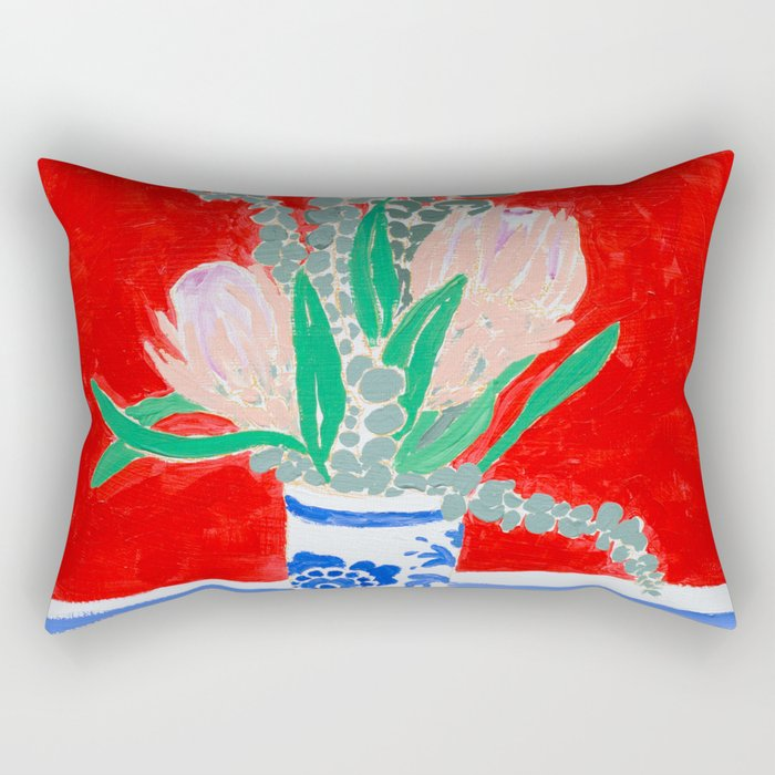 Protea Still Life in Red and Delft Blue Rectangular Pillow